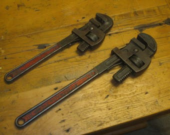 Two Pipe Wrenches , Proto Monkey Wrenches , Heavy Duty Pipe Wrenches