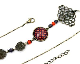 """Red and orange dots"" cabochon headband - headband retro vintage glass brass bronze"