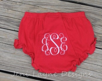 Monogrammed Bloomers- Red    Infant/Toddler Bloomers, diaper cover, monogrammed diaper cover