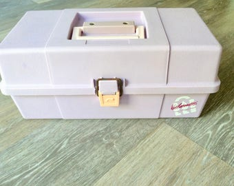 Pink & Purple CABOODLES CASE, Lilac / Lavender Jewellery Case, Makeup Storage Organiser , 80's Retro Travel Case, Birthday Gift for Her