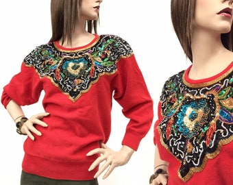 Bejeweled 80s Sequin Sweater - sequin flowers  - gold beading - Golden Girls shirt - Golden Girls TV show - Blanche - cotton - ugly sweater