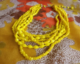70's yellow sunshine 6 string thick beaded necklace