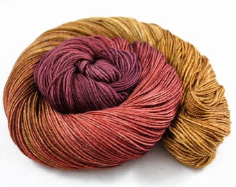 That's A Spicy Sauvignon! - PREORDER - 100g  437yd Fingering Luxury Yarn 70/20/10 Sw Merino/Yak/Nylon- sangria, terracotta, pecan