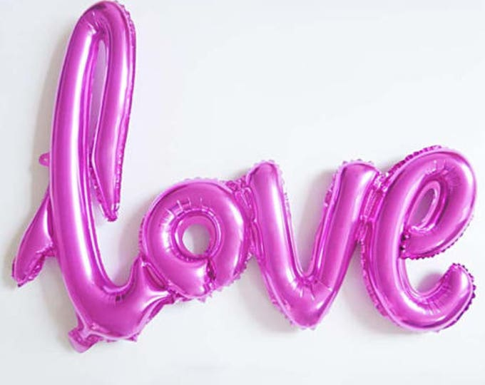 Love Script Balloons in Hot Pink Balloon, Hot Pink Love Script Balloon, Banner for a Wedding, Baby Shower, Engagement Party Love Balloon