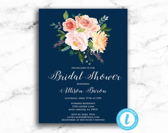 Watercolor Floral Bridal Shower Invitation Navy Background - Printable Editable Template Instant Download JPEG PDF