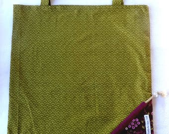 Tote Bag / eco-friendly tote bag / pouch - green and Brown foldable bag