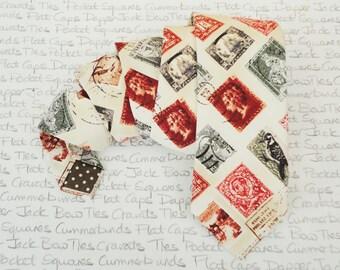 Neck ties for men, stamp collector's neck tie, philatelist neck tie