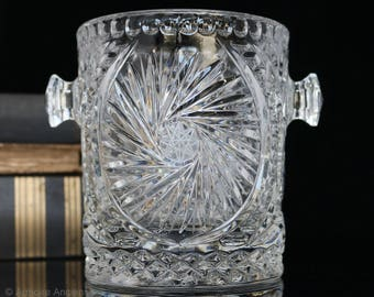 Vintage Lead Crystal Ice Bucket Wine Cooler with Handles, Ice Container, Ice Holder / Mid Century Art Deco Barware