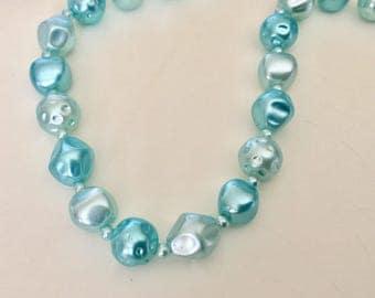 Vintage 1950s Blue Metallic Beaded Necklace