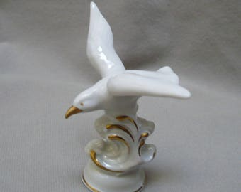 dresden china vintage bird figurine, seagull diving into waves 3""