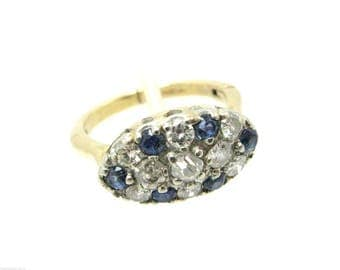 Vintage Estate Ring 14K Gold Mine Cut Diamonds Sapphire Cluster 1 CT Size 7