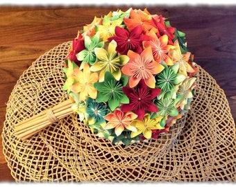 Country - On order - round Wedding Bouquet Origami - Kusudama orange, red, green, yellow...