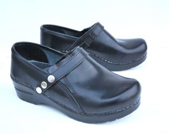Vintage Black Leather Clogs Danish Boho Shoes Size EUR 36  US 6 UK 3.5