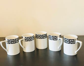 1960's Portmeirion 'Greek Key' Coffee Cup's X 5