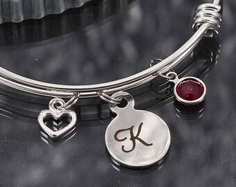 Initial charm bracelet, personalized jewelry gift, letter charm bracelet, initial bangle bracelet with charms, letter jewelry, charm bangle