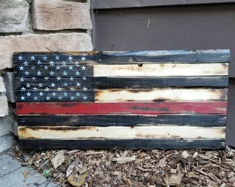 Rustic Wooden Red Line Flag - Firefighter flag