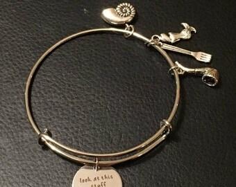 Semi-Annual SALE The Little Mermaid Inspired Bracelet, Little Mermaid Bangle Bracelet, Ariel Bangle, Ariel Charm Bracelet, Disney Princess I