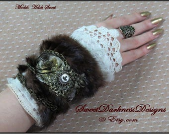 SteamPunk Cuff - Industrial Wrist Cuff - Vintage Lace FUR Leather CLOCK SPRINGS Neo Victorian Wearable Altered Art by SweetDarknessDesigns