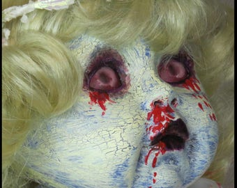 DEAD BABY DOLL Gothic Horror Doll Bleeding Doll Vampire Doll  Zombie Doll hand painted