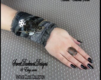 Gothic Cuff INDUSTRIAL GOTH Cuff Steampunk Industrial Cuff Clock Spring Vintage Gears Keys Black LEATHER