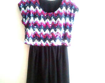 Vintage 70's Union Made Toni Todd Sequin Party Dress / Disco / Zig Zag Sequins / Holiday Dress /  Designer Dress / Size L