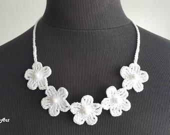 Crochet Necklace,Crochet Neck Accessory, White, 100% Cotton.