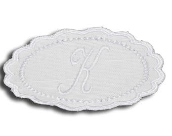 "Embroidery patch ""Letter K"" Monogram white"