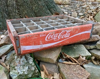Vintage Red And White Wooden Soda Crate Antique Sectioned Coke Coca Cola Beverage Delivery Case Repurposed Rustic Retro Wooden Storage  Box