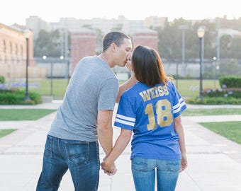 Customized Football Jersey T-shirts . Eco Friendly tri-blend personalized football shirts. Fottball mom shirt with custom last name.