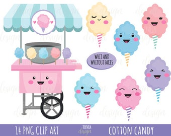 80% SALE cotton candy clipart, cotton candy printable, commercial use, candy clipart, instant download,kawaii clipart