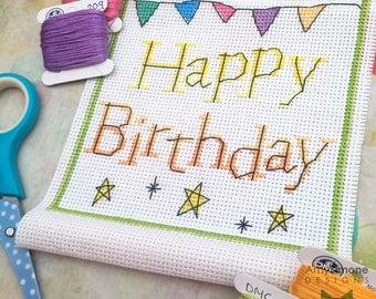 Happy Birthday Scroll Cross Stitch Pattern & Instructions