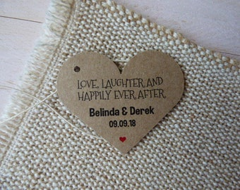 Love, Laughter and Happily Ever After,Wedding Favor Tags, Wedding Tags. Shower Tags. Custom Tags. Thank you tags. Set of 25 to 300 pieces