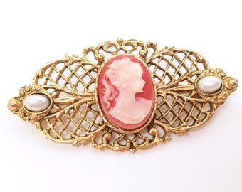 "BAR PIN CAMEO Brooch is a Peach & Ivory-Colored Cameo of a Lovely Young Lady set in a 2 1/4"" x 1 5/8"" Gold Tone Bar Pin Brooch w/Faux Pearls"