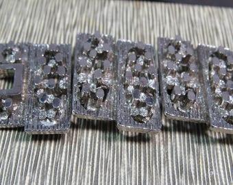 Bracelet Size 7 Silver Segments 1 Inch Wide A76/4