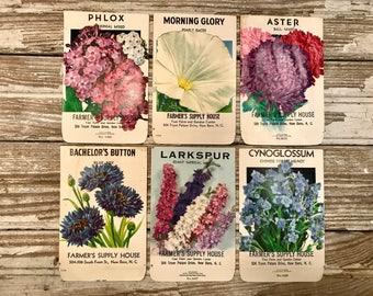 Set/Lot of 6 Vintage Seed Packets, Floral Prints, Flower Prints, Vintage Garden Prints, Bontanicals, Farmhouse Decor