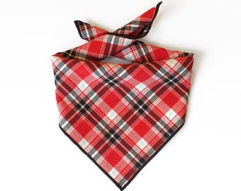 Tie On Black and Red Tartan Plaid Dog Bandana, Dog Scarf, tie bandana, pet bandana, doggy scarf , scarf for dogs