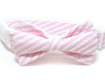 Wide Striped Pink Seersucker Dog Collar Bow Tie set, pet bow tie, collar bow tie, wedding bow tie