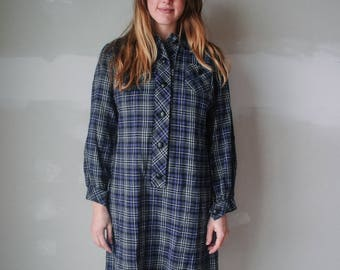 1970s plaid shirt dress