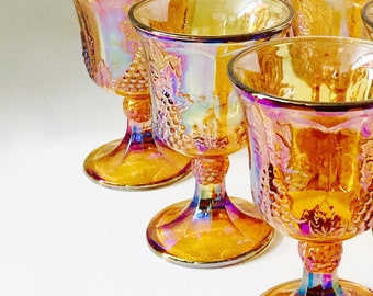 Carnival Glass...Indiana Glass Co...Wine Glasses...Carnival Glass Goblets..