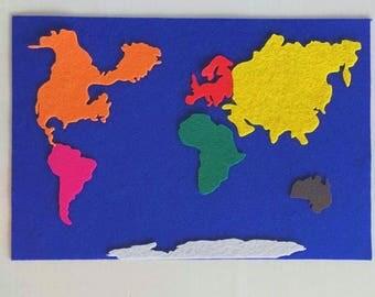 Felt continents Etsy