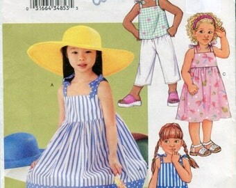 SUMMER SALE Butterick 3477 Toddler Girls Sundress Top Shirts Pants Sewing Pattern Size 2 3 4 5
