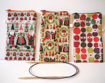 "Individual Circular Knitting Needle Case holder, Zipper pouch, 7.5""x4.5"", Knitter gift, Knitting accessory, Craft storage organization."