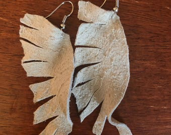 Genuine Chamois leather, earrings , christmas gift, unique , leather, soft feel
