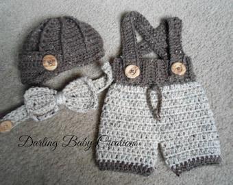 Crochet Newsboy Set...Includes Textured Newsboy Hat and Adjustable Suspender Shorts, & Bow-Tie.  Sizes: Newborn to 12 Months.