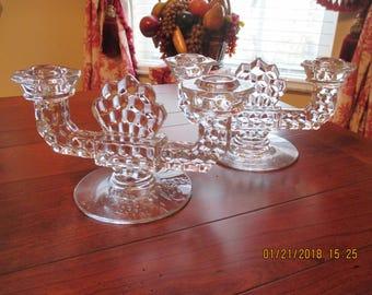 Fostoria Glass Co. American pattern CandleHolders pair
