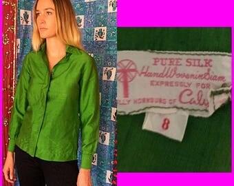 Sale Calypso Blouse Polly Hornburg Blouse Thai Silk Blouse Vintage 60s Siam Silk Blouse