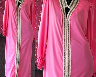 60s Beaded Dress Sequin Party Pink Dress Vintage 60s Beaded Gown