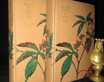 The Essays of Elia & The Last Essays of Elia by Charles Lamb 2-Volume Set Antique Fine Binding Decorative Books
