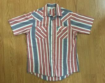 VTG Striped Western Shirt - Medium - Cowboy Shirt - Rockabilly - Vintage Clothing - Snap Button - Short Sleeve Shirt - Western Frontier -