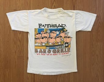 VTG 1993 Butthead Bar & Grille T-Shirt - Small Mens - Vintage Tee - Vintage Clothing - Funny Shirt - Grunge - Sportswear - 90s Clothing